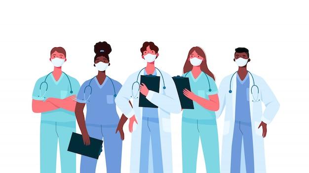 Conjunto de personagens médicos em máscara facial médica branca