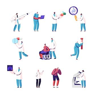 Conjunto de personagens minúsculos de médicos e pacientes com pílulas enormes, lupa e microscópio, raio-x de pulmões.