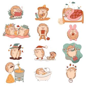 Conjunto de personagens ouriço kawaii isolado