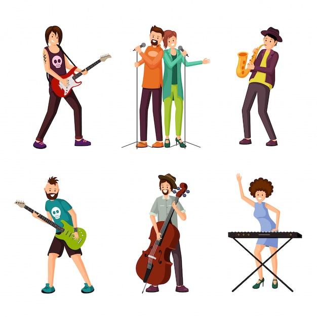 Conjunto de personagens planas de artistas de música