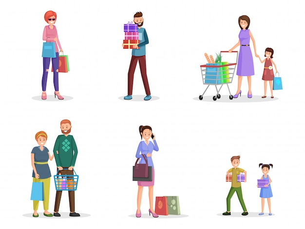 Conjunto de personagens planas de compradores felizes