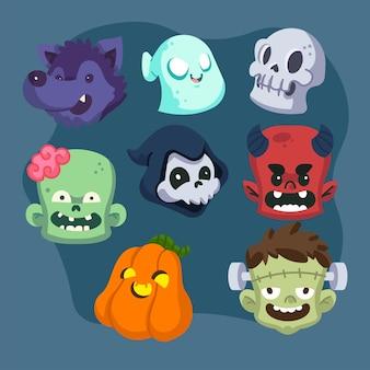Conjunto de personagens planos de halloween desenhados à mão