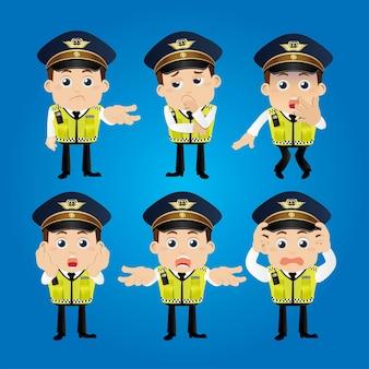 Conjunto de personagens policiais em diferentes poses
