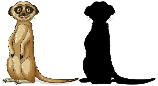 Conjunto de personagens suricatas e sua silhueta