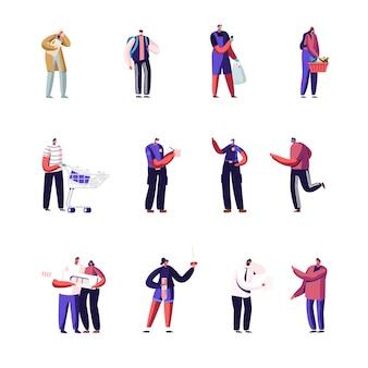 Conjunto de personagens. usando máscaras médicas, permaneça na fila da loja, mantendo a distância.