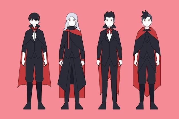 Conjunto de personagens vampiros de halloween assustador
