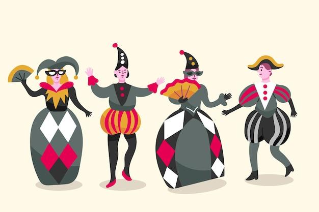 Conjunto de personagens vestindo fantasias de carnaval italiano