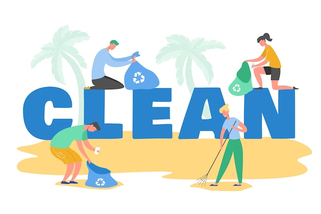 Conjunto de personagens voluntários coletando lixo e resíduos plásticos para reciclagem, proteção ambiental e separação para reduzir a poluição ambiental.