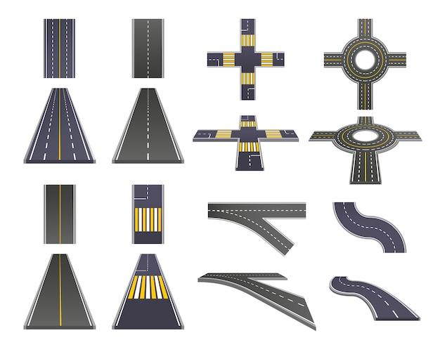 Conjunto de perspectiva de peças de estrada