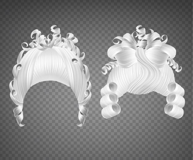 Conjunto de peruca menina encaracolado branco