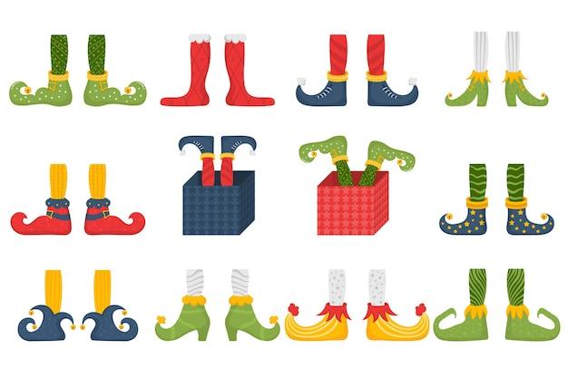 Conjunto de pés e pernas de duende de natal, decoração para festa