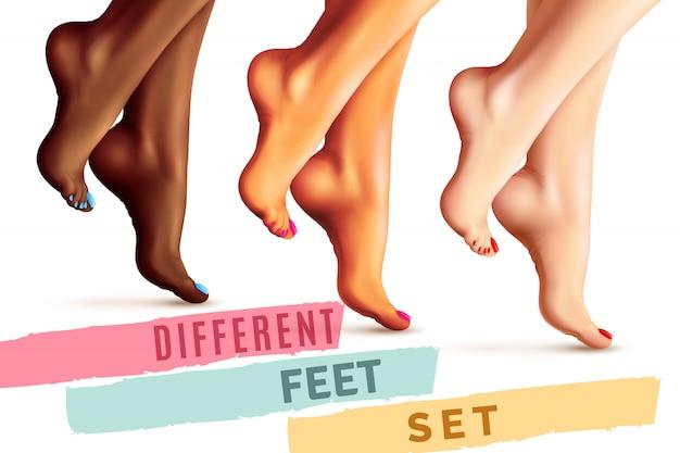 Conjunto de pés femininos diferentes