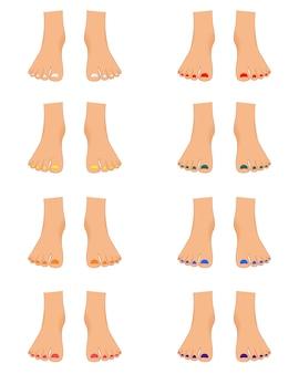 Conjunto de pés femininos para o construtor