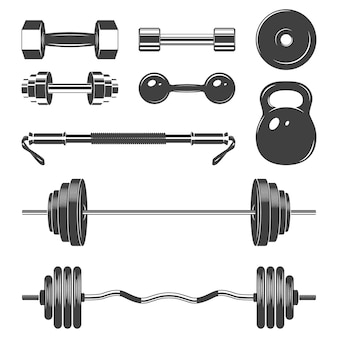 Conjunto de pesos de sinal para elementos de design de fitness ou ginásio.