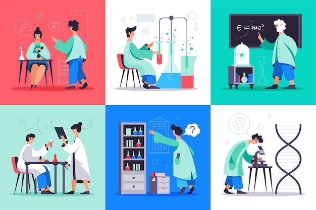 Conjunto de pesquisa científica de ilustrações planas