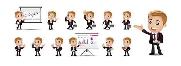 Conjunto de pessoa de negócios jovem desenho animado