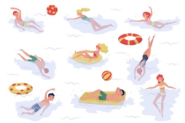 Conjunto de pessoas a nadar. meninos e meninas em trajes de banho. recreação ativa no mar. férias de verâo
