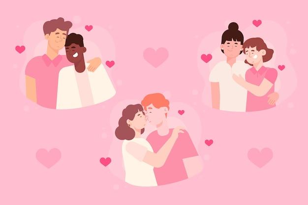 Conjunto de pessoas abraçando o dia dos namorados