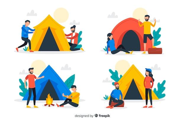 Conjunto de pessoas acampadas na natureza