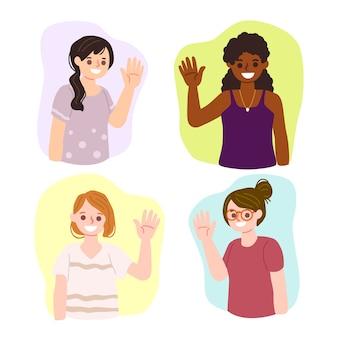 Conjunto de pessoas acenando a mão