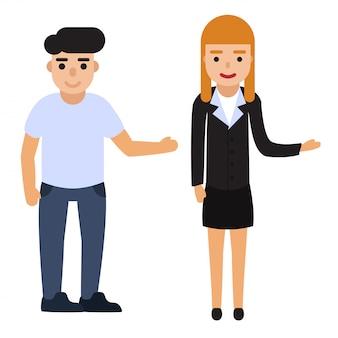 Conjunto de pessoas apontam para algo. ilustração lisa do vetor do homem e da mulher.