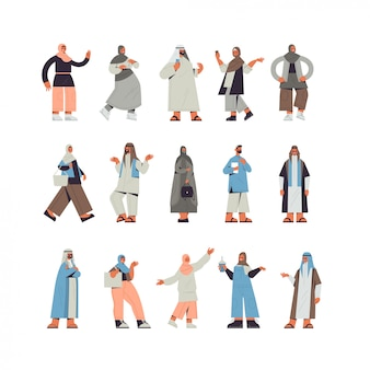 Conjunto de pessoas árabes em roupas tradicionais árabes homens mulheres em pé pose masculino feminino personagens de desenhos animados coleção ilustração de corpo inteiro