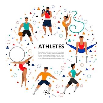 Conjunto de pessoas atléticas fazendo vários tipos de esportes.