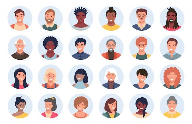 Conjunto de pessoas, avatares, pessoas
