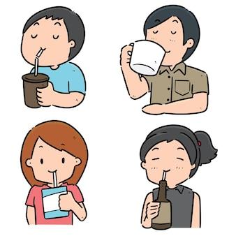 Conjunto de pessoas bebendo