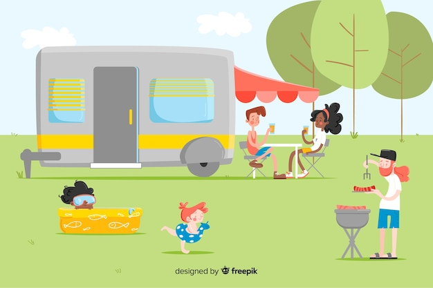 Conjunto de pessoas camping design plano