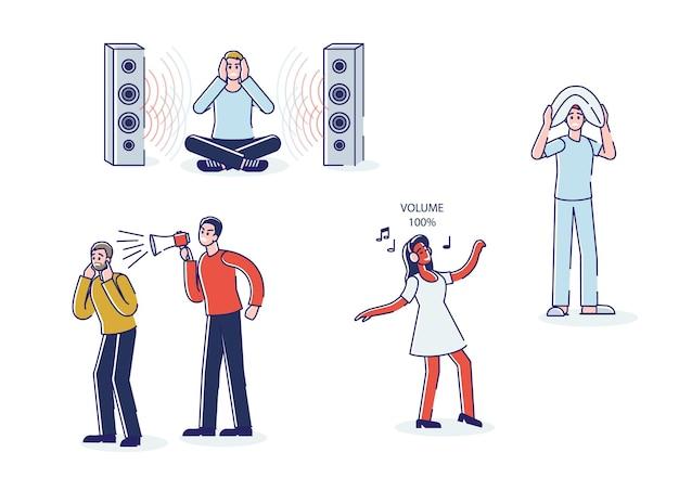 Conjunto de pessoas cansadas de música alta e volume alto de alto-falantes e megafone