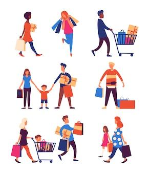 Conjunto de pessoas carregando sacolas de compras com compras.