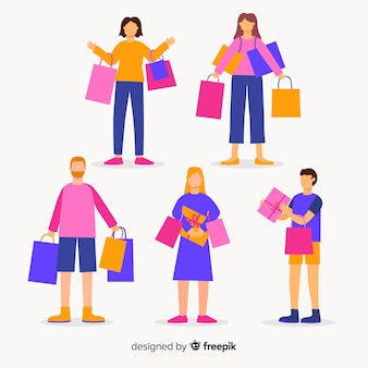 Conjunto de pessoas carregando sacolas de compras