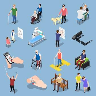 Conjunto de pessoas cegas