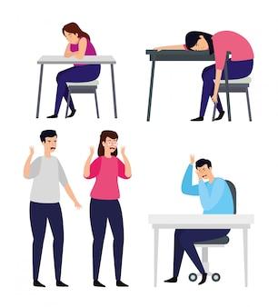 Conjunto de pessoas com ataque de estresse