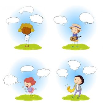 Conjunto de pessoas com balão de fala