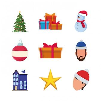 Conjunto de pessoas com chapéus de natal e ícones relacionados ao natal