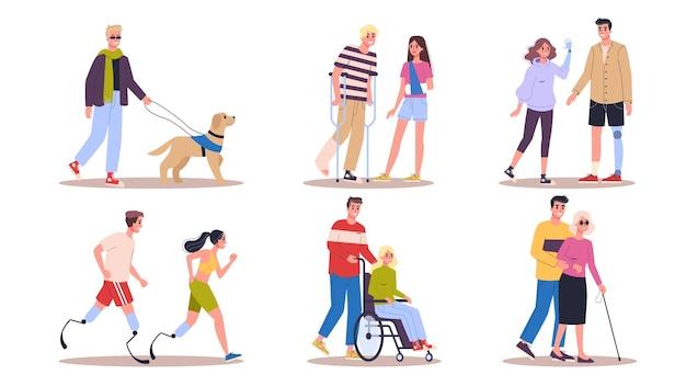 Conjunto de pessoas com deficiência. homens e mulheres com muletas