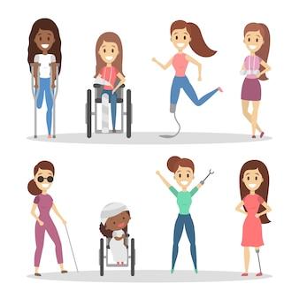 Conjunto de pessoas com deficiência.