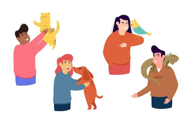 Conjunto de pessoas com diferentes animais de estimação