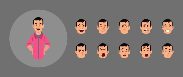 Conjunto de pessoas com diferentes emoções faciais