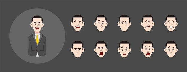 Conjunto de pessoas com diferentes expressões faciais
