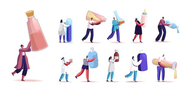 Conjunto de pessoas com diferentes líquidos em garrafas, tubos e frascos. minúsculos personagens masculinos e femininos segurar remédio, leite infantil, reagentes químicos isolados no fundo branco. ilustração em vetor de desenho animado