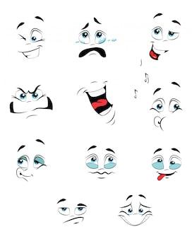 Conjunto de pessoas com emoções. coleção de expressões faciais. ilustração.