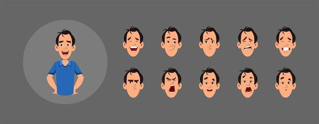 Conjunto de pessoas com emoções faciais diferentes