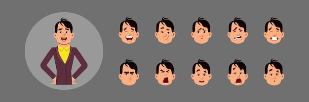 Conjunto de pessoas com emoções faciais