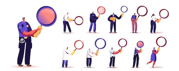 Conjunto de pessoas com lupa. minúsculos personagens masculinos e femininos segurando uma enorme lupa para pesquisa de informação e investigação científica isolada no fundo branco. ilustração em vetor de desenho animado