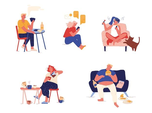 Conjunto de pessoas com maus hábitos