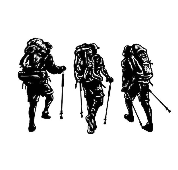 Conjunto de pessoas com mochila, arte em linha desenhada à mão