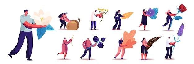 Conjunto de pessoas com plantas diferentes. personagens masculinos e femininos segurando bagas, flores e sementes, bolota, baunilha e flor de lavanda isolada no fundo branco. ilustração em vetor de desenho animado